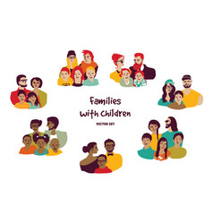 happy families parents with children isolated vector image vector image