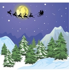 Santa s sleigh on Moon background vector image