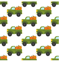 truck with pumpkins pattern vector image vector image