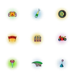 Association of racers icons set pop-art style vector image