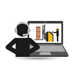 Delivery call centre operator online process vector