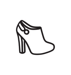 High-heeled ankle boot sketch icon vector