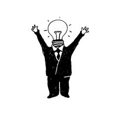 lamp head businessman vector image vector image