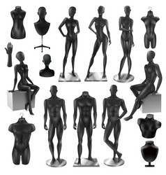 mannequins men women realisyic black set vector image vector image