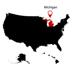 map of the us state michiga vector image vector image