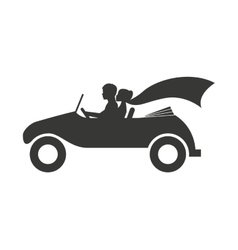 Married couple in car isolated icon design vector image