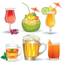 Set of drinks vector image vector image