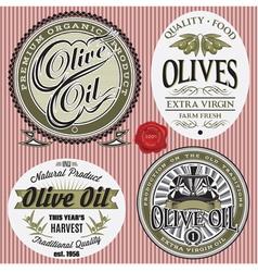 Set of labels for olives oil vector