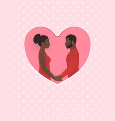 african female and male a couple in love holding vector image