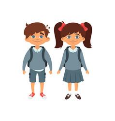 boy and girl in school uniform vector image