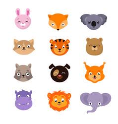 cute baby animal faces set vector image vector image