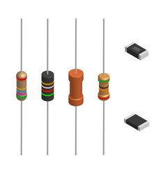 set of different resistors in 3d vector image