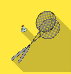rackets and a shuttlecock for badmintonsummer vector image