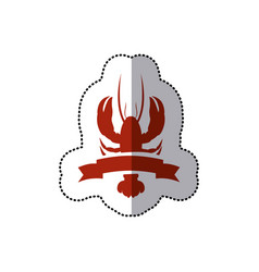 sticker red silhouette lobster with ribbon vector image vector image