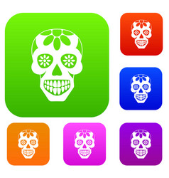 sugar skull flowers on the skull set color vector image