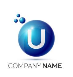 U letter splash logo blue dots and circle bubble vector