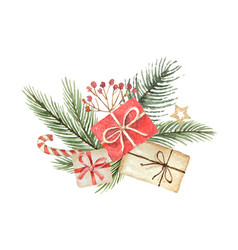 watercolor christmas bouquet with fgifts vector image vector image