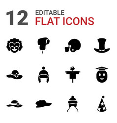 12 hat icons vector