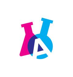 A letter lab laboratory glassware beaker logo icon vector