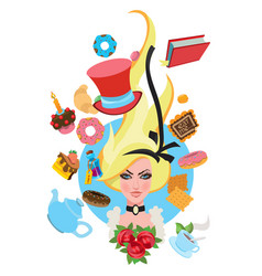 alice surrounded by fabulous items to the fairy vector image