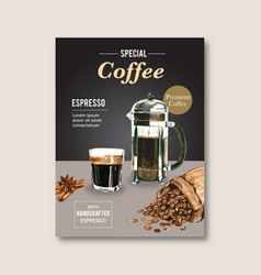 American cappuccino coffee poster discount vector