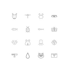 Animals simple linear icons set outlined icons vector