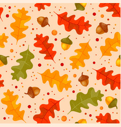 Autumn floral seamless pattern with oak leaves vector