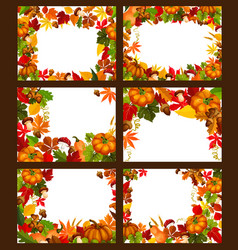 Autumn season leaf and fall nature frame poster vector