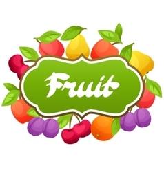 Background design with stylized fresh ripe fruits vector image