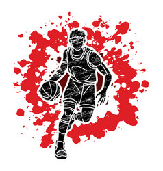 Basketball male player action graphic vector