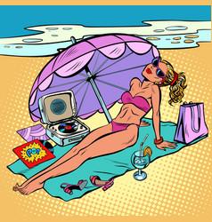 Beautiful woman in bikini sunbathing on beach vector