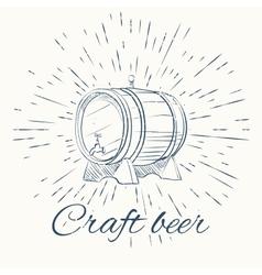 beer barrel and vintage sun burst frame craft vector image