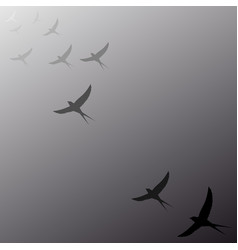 Birds flying away into the distance vector