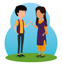 Boy and girl siblings traditional celebration vector