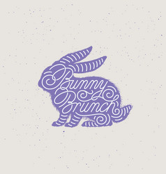 bunny brunch lettering vector image