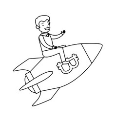 businessman flying in rocket with bitcoin symbol vector image
