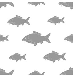 Carp of different sizes seamless black and white vector