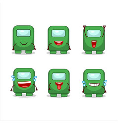 Cartoon character among us green with smile vector