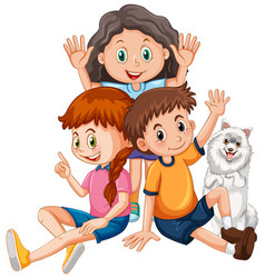 Children with cute dog cartoon character vector