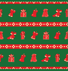 christmas bells and gifts striped repeat pattern vector image
