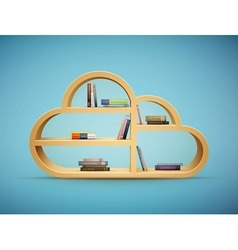 cloud shelf with books vector image