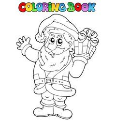 coloring book santa claus topic 1 vector image