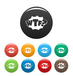 Comic boom wtf icons set color vector
