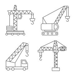 Construction icons Cranes Thin Line vector