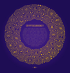 Cryptocurrency concept in circle vector