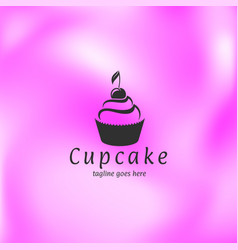 cupcake with cherry on pink background vector image