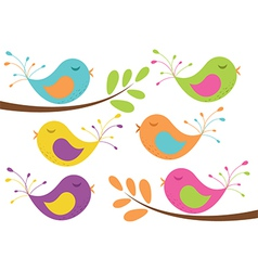 Cute Birds and Branches vector image