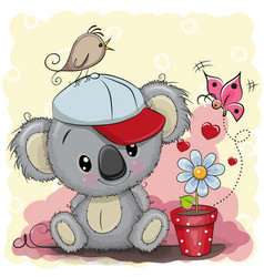 Cute cartoon koala with flower vector