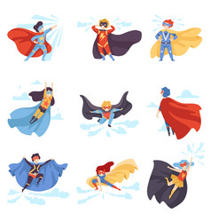 cute kids wearing superhero costumes set super vector image
