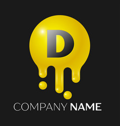 D letter splash logo yellow dots and bubbles vector